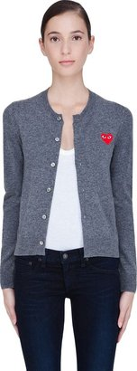 Comme des Garcons Charcoal Wool Heart Cardigan