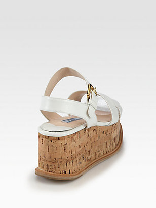 Prada Saffiano Patent Leather Cork Wedge Sandals