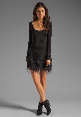 Catherine Malandrino 3/4 Sleeve Boat Neck Dress with Feathers and Pleated Chiffon Skirt