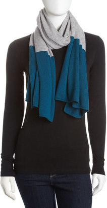 Magaschoni Cashmere Colorblock Scarf, Gray/Teal