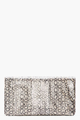 Saint Laurent Taupe Metallic Leather Foldover Letters Clutch