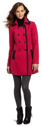 Amy Byer A. Byer Juniors Melton Double-Breasted Coat