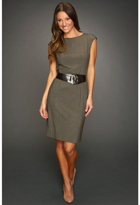 Calvin Klein Sheath Combo Dress (Olive Heather) - Apparel