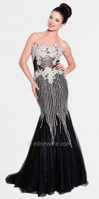 Atria Strapless Sheer Corset Prom Dresses