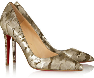 Christian Louboutin Pigalle 100 camouflage-print metallic suede pumps