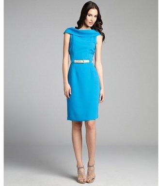 Tahari ASL sky blue off-the-shoulder shawl collar belted dress