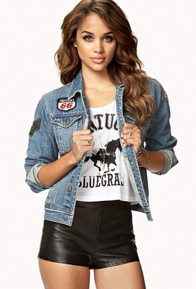Forever 21 distressed patch denim jacket