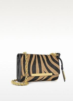 Badgley Mischka Justine Zebra Haircalf Handbag Black/Nutmeg