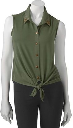 Camo Ultra flirt tie-front studded top - juniors'
