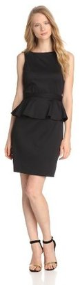 Isaac Mizrahi Women's Belted Peplum Dress, Black, 6 US