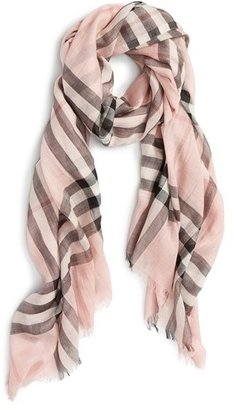 Women's Burberry Giant Check Print Wool & Silk Scarf $316 thestylecure.com