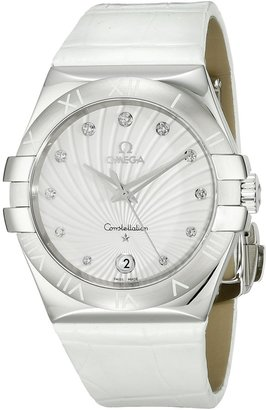 Omega Women's 123.13.35.60.52.001 Constellation Diamond-Accented Stainless Steel Watch with White Leather Band