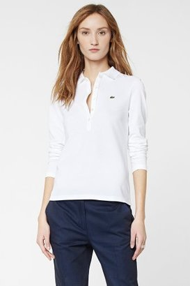 Lacoste Long Sleeve 5 Button Stretch Pique Polo