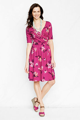 Lands' End Women's Petite Elbow Sleeve Pattern Cotton Modal Fit and Flare Dress