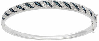 JCPenney FINE JEWELRY White & Color-Enhanced Blue Diamond-Accent Striped Bangle