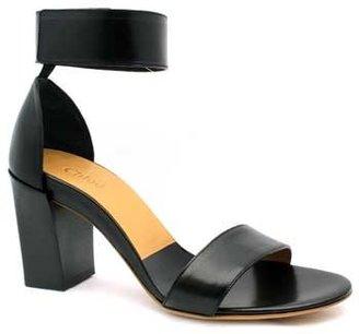 "Chloé CH20094"" Black Leather Ankle Strap Chunky Heel Sandal"