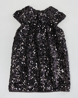 Milly Minis Daisy Cap-Sleeve Sequin Dress, Black, Sizes 8-10