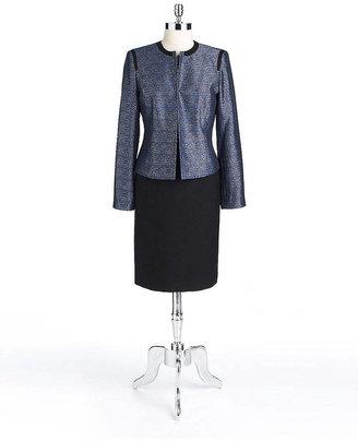 Albert Nipon Plus Two-Piece Tweed Flyaway Jacket Dress