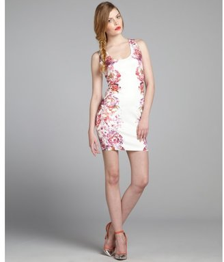 Romeo & Juliet Couture fuchsia and ivory floral printed neoprene tank dress