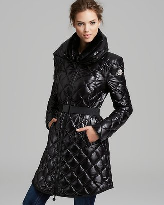 Moncler Glaciers Quilted Down Coat with Belt