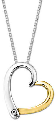 Lord & Taylor Sterling Silver & 14 Kt. Yellow Gold Diamond Heart Pendant