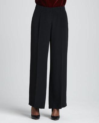 Eileen Fisher Crepe-de-Chine Wide-Leg Pants, Petite
