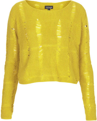 Topshop Knitted ladder stitch crop top in chartreuse 100% acrylic. machine washable.