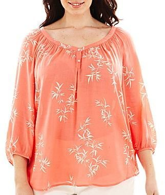 JCPenney jcpTM Shirred Popover Peasant Top - Plus