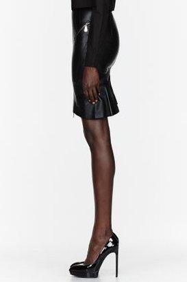 McQ by Alexander McQueen Black leather zipper Biker Skirt