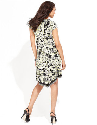 INC International Concepts Petite Dress, Cap-Sleeve Printed Handkerchief-Hem