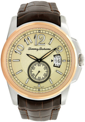 Tommy Bahama Watch, Men's Swiss Amber Brown Crocograin Leather Strap 42mm TB1192