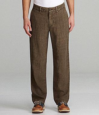 Murano Flat-Front Linen Pants