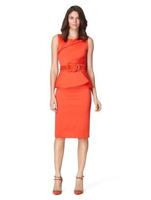 Oscar de la Renta Sleeveless Jewel Neck Dress With Drape Detail