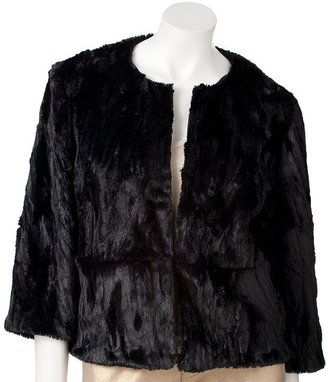 JLO by Jennifer Lopez crinkle faux-fur jacket