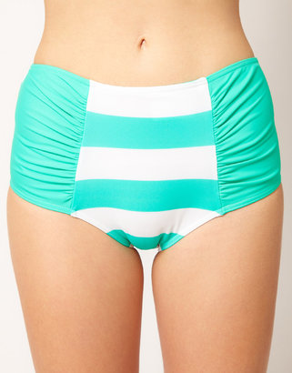 Asos Mix and Match Stripe High Waisted Bikini Pant