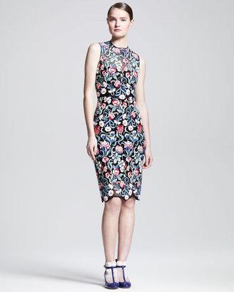 Valentino Sleeveless Tapestry Lace Sheath Dress