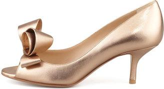 Valentino Bow Open-Toe Leather Pump, Bronze