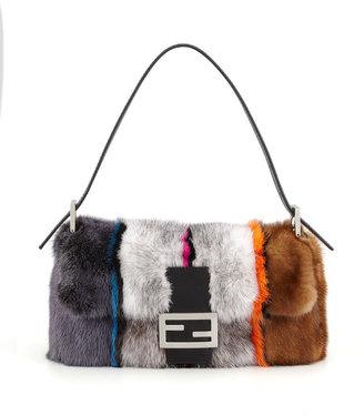 Fendi Baguette Striped Mink Fur Bag, Multicolor