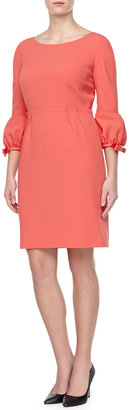 Paule Ka Poof-Cuff Crepe Dress, Coral