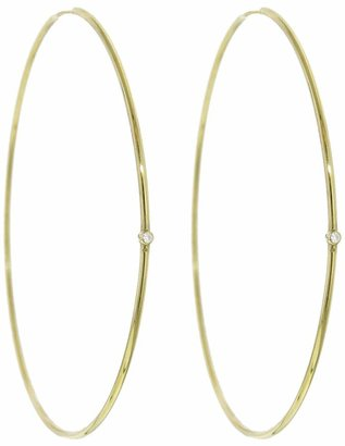 Jennifer Meyer Large Hoop Earrings with Diamonds - Yellow Gold