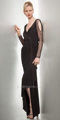 Mignon Beaded Sheer Illusion Long Sleeve Evening Dresses
