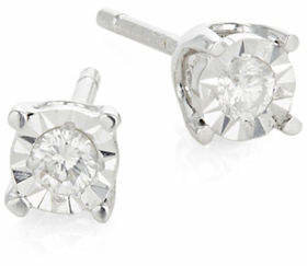 Effy 14K White Gold and 0.10 Total Carat Weight Diamond Stud Earrings