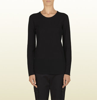 Gucci Women's Black Mesh Cotton Long Sleeve T-Shirt From Viaggio Collection