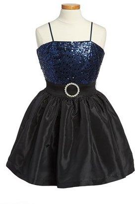 Un Deux Trois Sequin Taffeta Dress (Big Girls)
