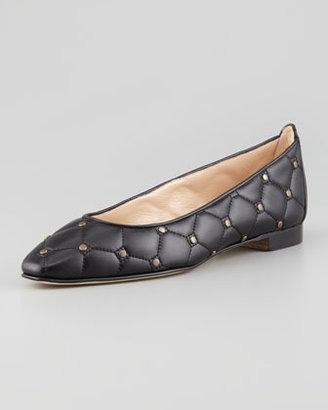 Manolo Blahnik Giungla Quilted Leather Skimmer, Black