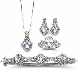 Fine Jewelry Simulated Aquamarine & Cubic Zirconia Boxed 4-pc. Jewelry Set