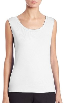 Lafayette 148 New York Swiss Cotton Rib Scoopneck Tank Top