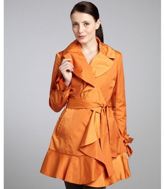 Cole Haan tangerine ruffle front belted trench coat