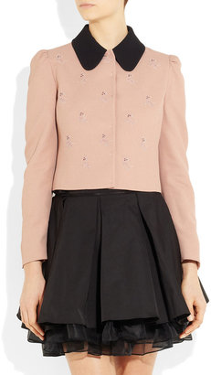 Miu Miu Dog-motif cropped crepe jacket