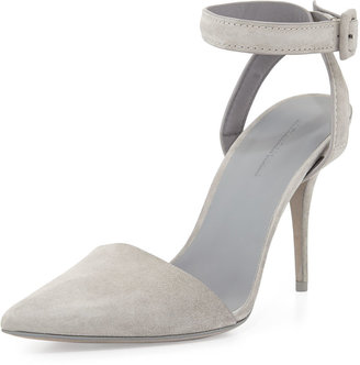 Alexander Wang Lovisa Suede Ankle-Wrap Pump, Oyster
